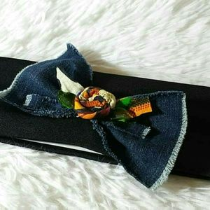 Tasty Raw Edge Denim Kente Rose Bow Headband